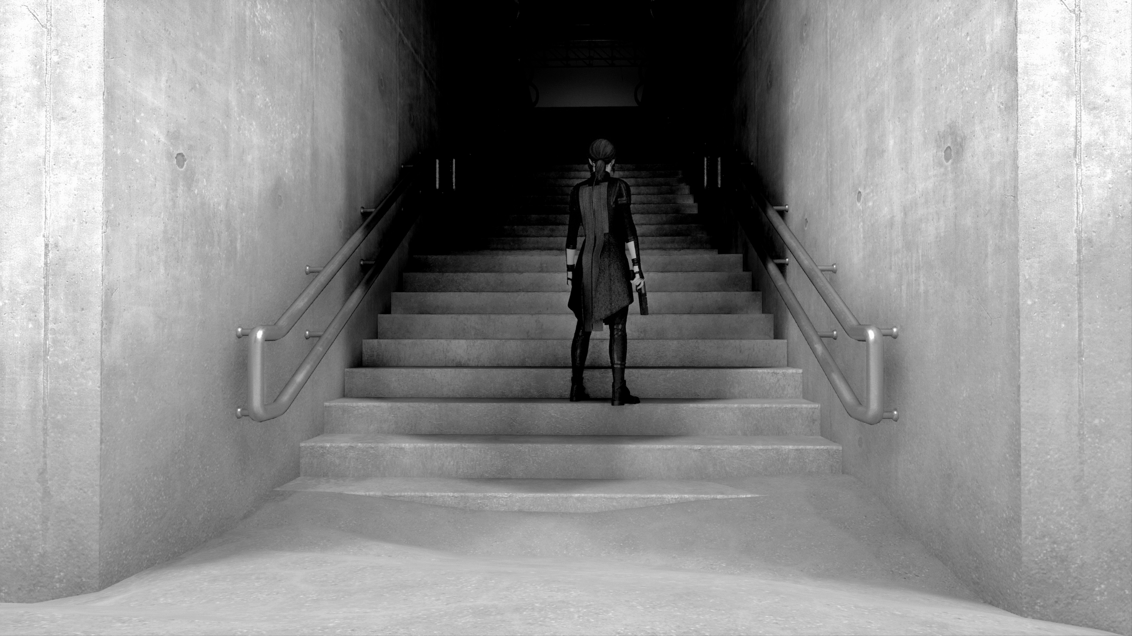 In-game photograph. The protagonist Jesse ascends a set of concrete stairs into the darkness.